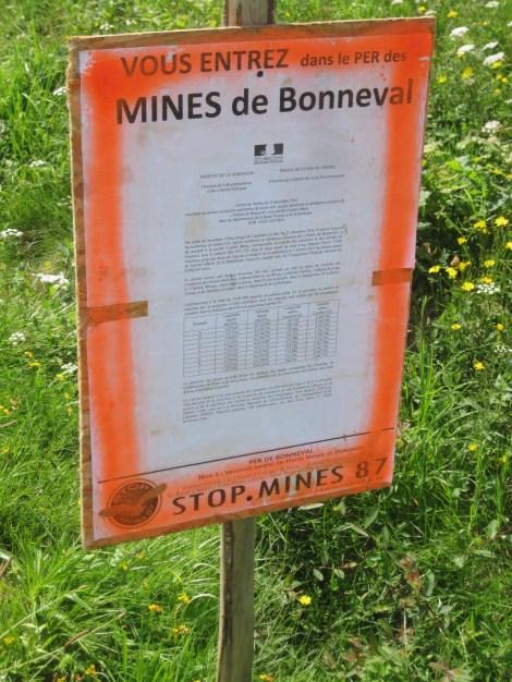 Panneau de Stop Mines 87