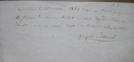 Reçu de Joséphine Darnet 1851